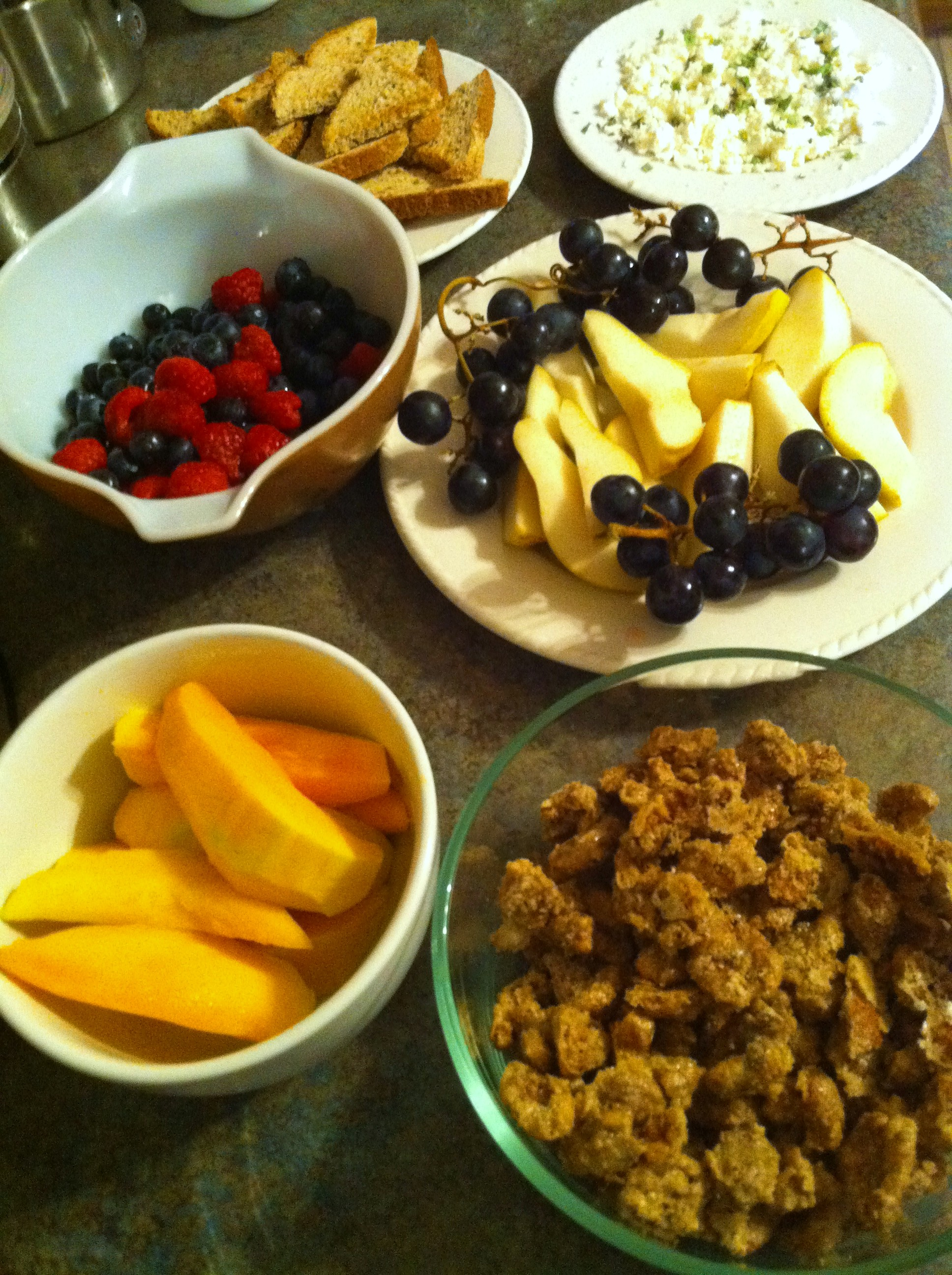 Fruit, Nut and Cheese plate.